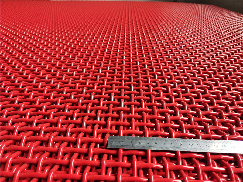 65Mn Crimped Woven Mesh with Red Color